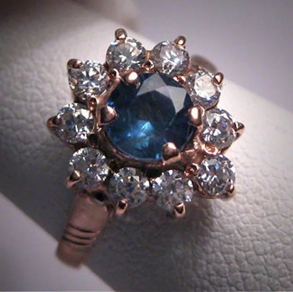 Antique Sapphire Wedding Ring Rose Gold Vintage Art Deco