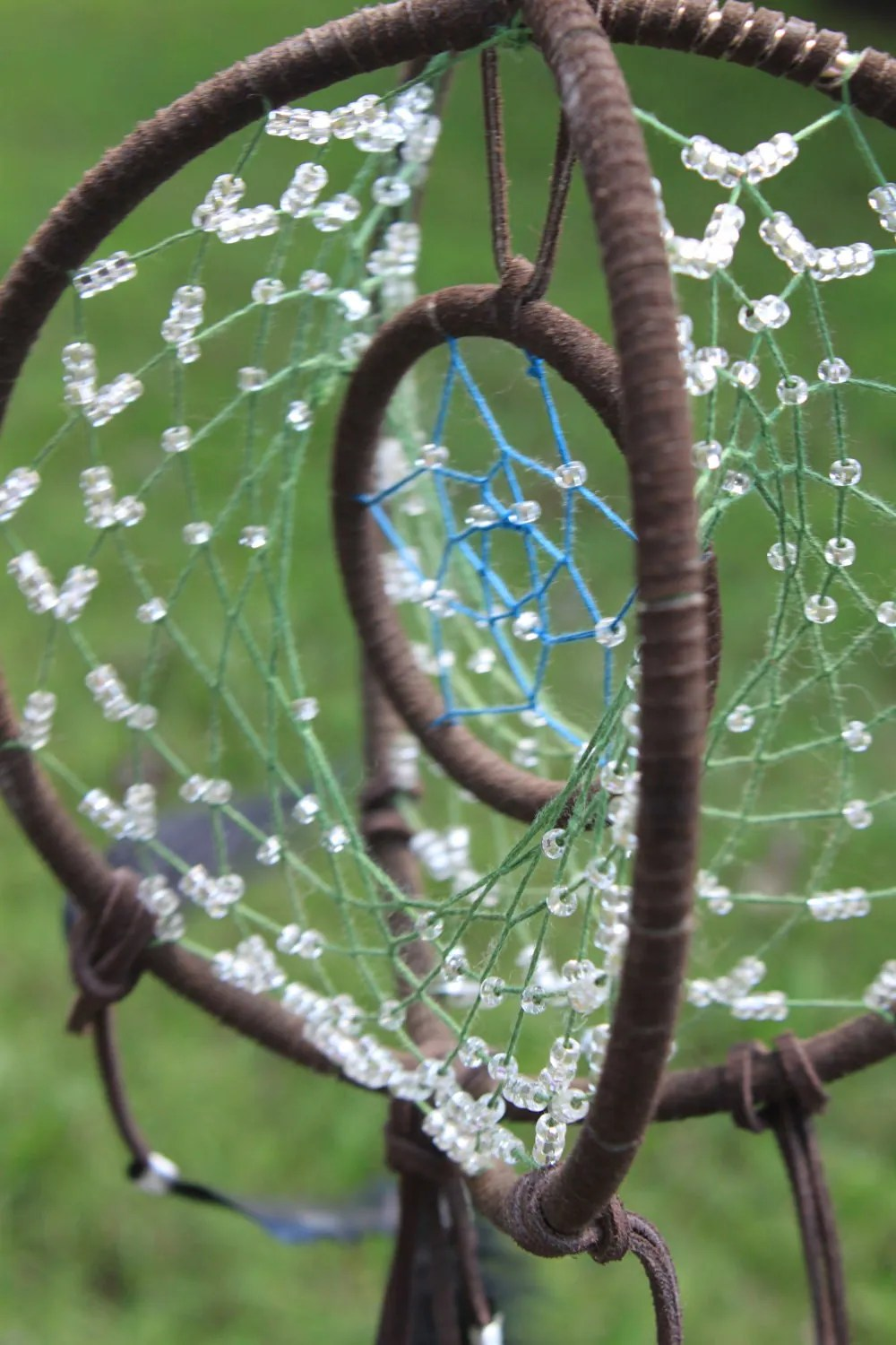 Beaded Dreamcatcher Ooak Three Ring Dream Catcher Of The