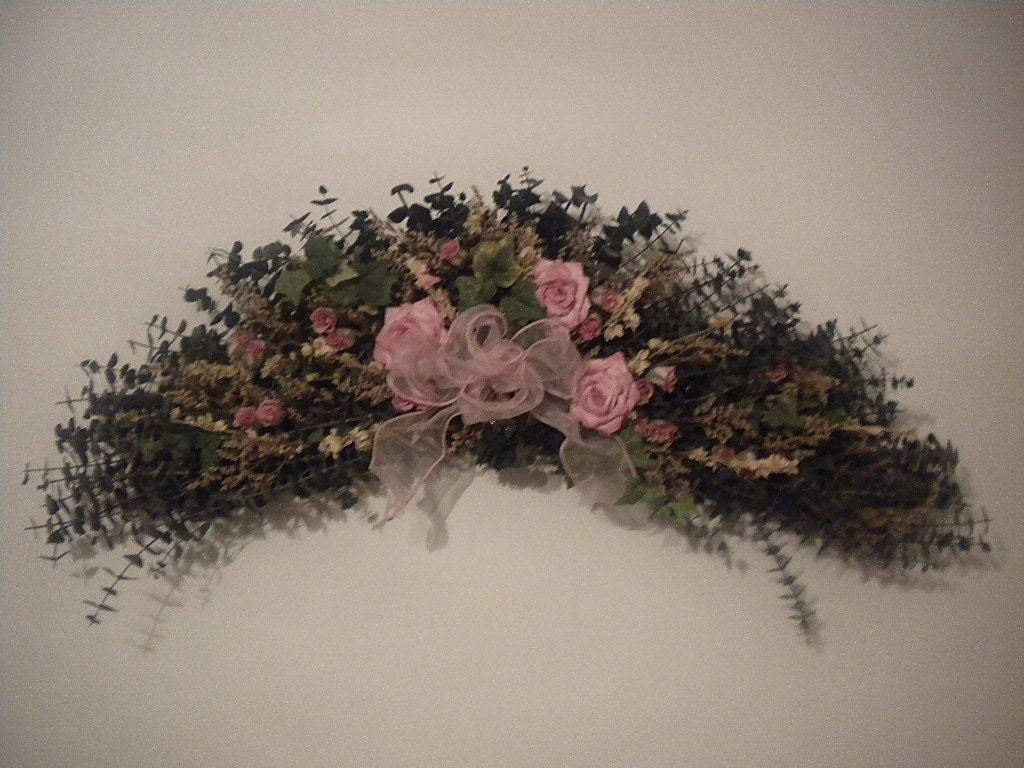 Pink Roses Floral Swag With Greenery For Home Or Office Shelf
