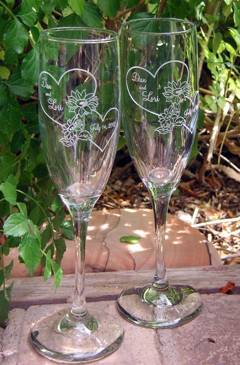Sunflower Hearts Toasting Wedding Champagne Glass Flutes