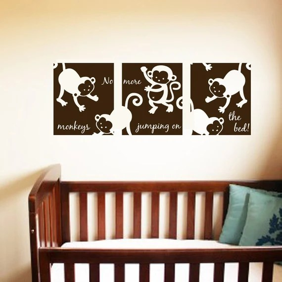 3 Panel No More Monkeys Jumping on the Wall Decal by stixdesign