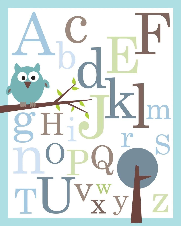 Abc Alphabet Poster Print 8x10 Baby Nursery By Kidodesignstudio
