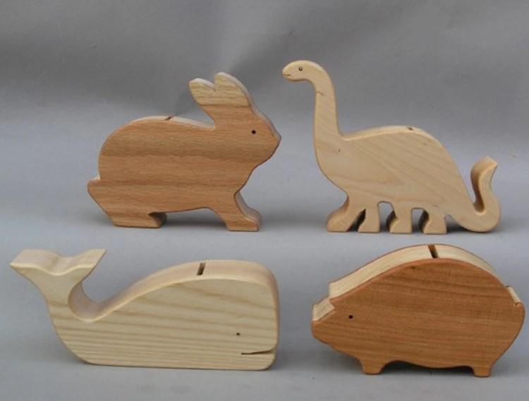 Coin Piggy Bank Savings Bank For Children Wooden By