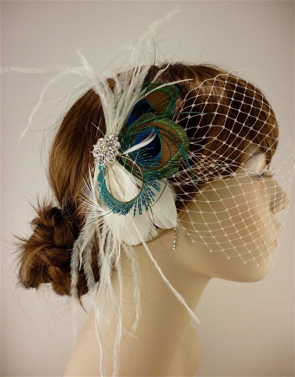 Wedding Bridal Hair Clip, Bridal Fascinator, Feather Fascinator, Fascinator, Wedding Veil, Bridal Headpiece, Bridal Veil