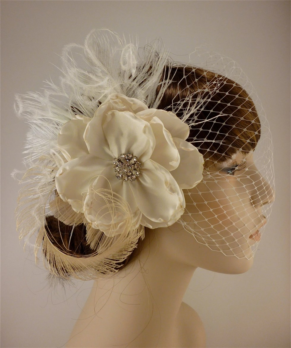 "Beauty Is - Bridal Fascinator (2 Items) Ivory Bridal Flower and Feather Fascinator 4.5"" flower with Ivory Bandeau Veil"