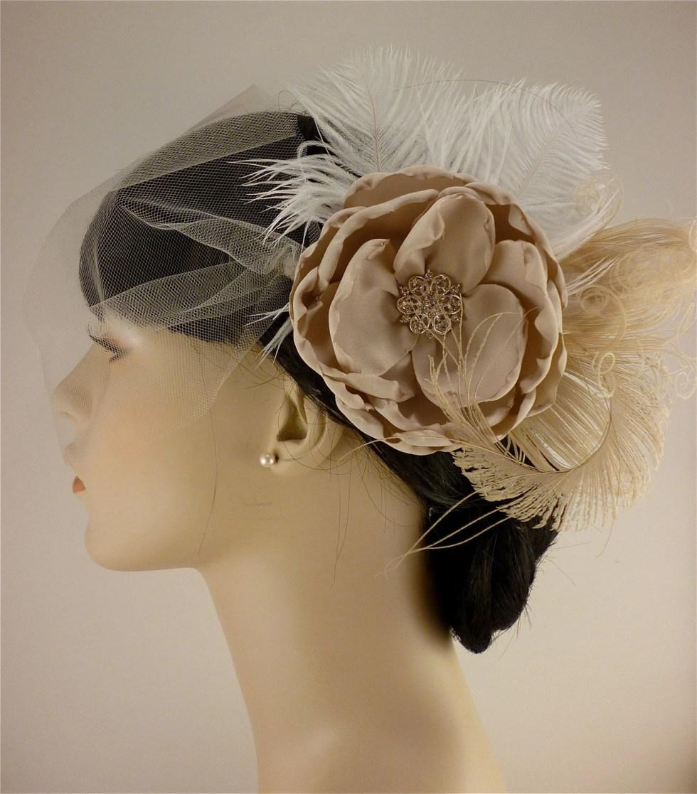 Handmade Champagne Bridal Flower Fascinator, Bridal Fascinator, Bridal Flower Hair clip, Flower Hair Clip, Wedding Veil, Bridal Veil
