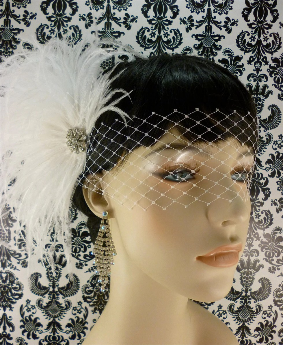 Bridal Feather Fascinator, Bridal Fascinator, Bridal Hair Accessories, Wedding Hair Accessories, Bridal Veil, Wedding Veil, Blindfold Veil