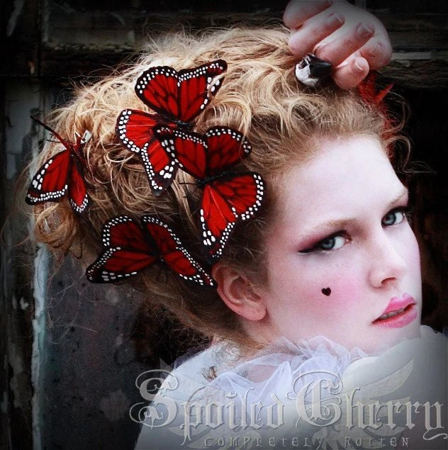 Butterfly Hair Clip Monarch Red Or Orange