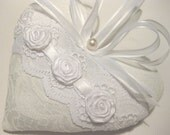 Bride's Lavender Sachet Heart with Lace, Roses & Vintage Pearl - RebeccasHearts