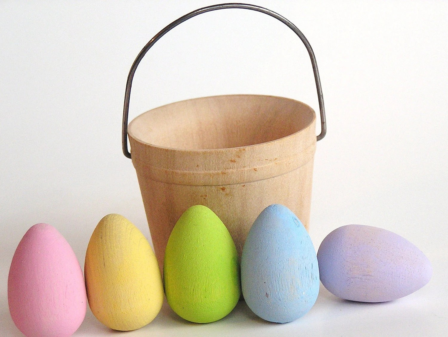 Natural Wooden Toy- PASTEL mini Easter Egg Basket- - applenamos