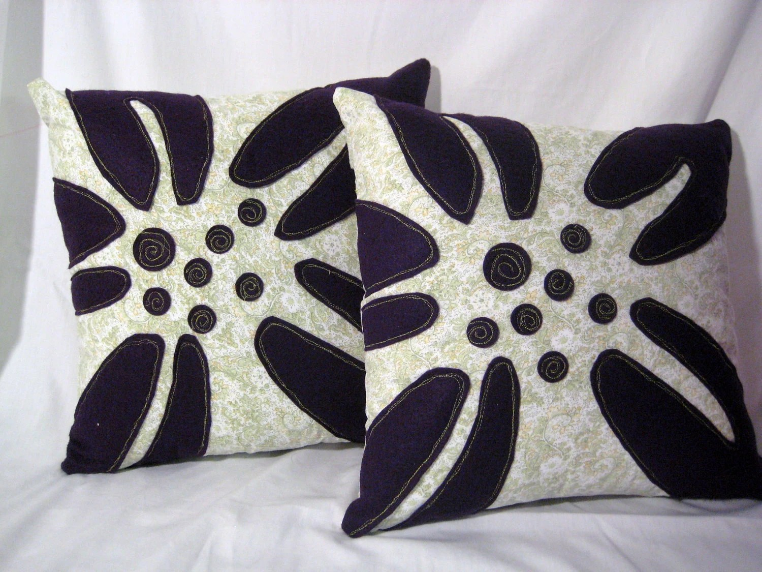 Set Of 2 Lily Appliqued Pillow Covers Purple And By