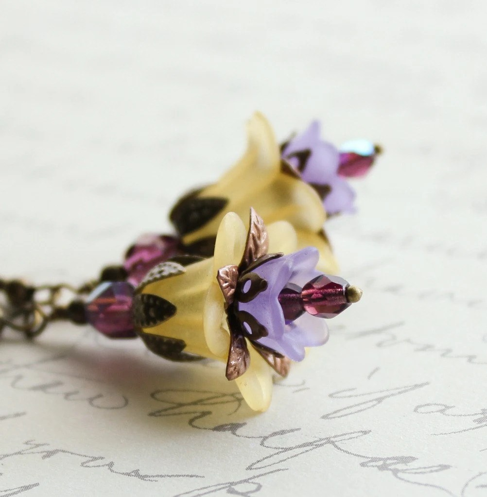 Lucite Flower Earrings Yellow Violet Purple Lavender Golden Dangle Earrings Summer Floral Accessories Gold Nature Inspired Vintage Style - apocketofposies