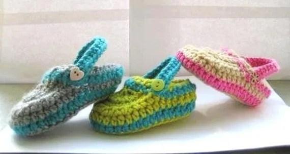 Supplies, Pattern, Crochet, Crochet Pattern  for Crochet Baby Slippers, Crochet Pattern for Boys or Girls Slippers