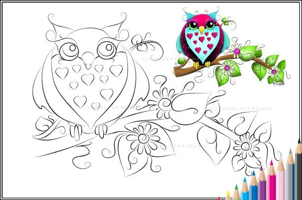 girly owl coloring pages owl loves a lot printable pdf