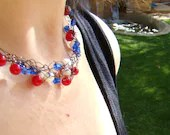4th OF JULY crochet wire necklace in red white and blue on dark bronze wire - ElephantBeads