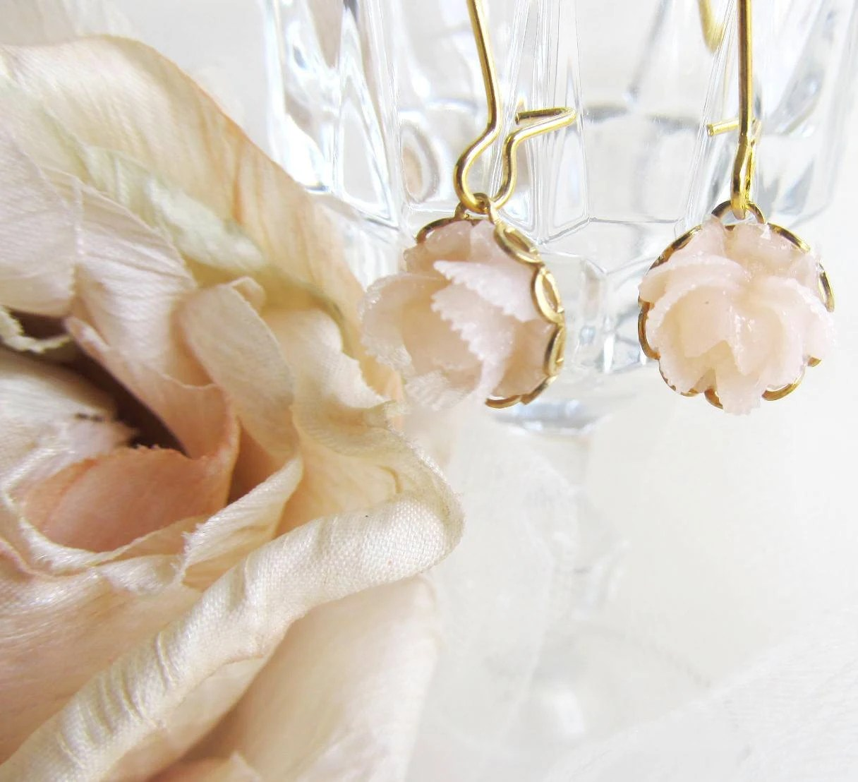 Sweet Translucent Cabbage Rose LONG  Earrings