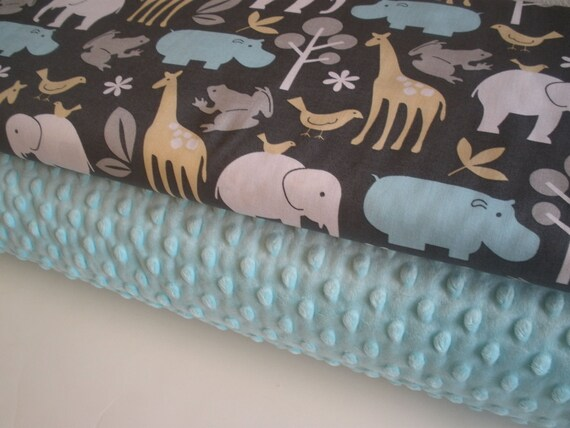 Michael Miller and Minky Fabric Bundle in Zoology in Sea, Complete Kit to Make a Baby Blanket, PDF Pattern Included