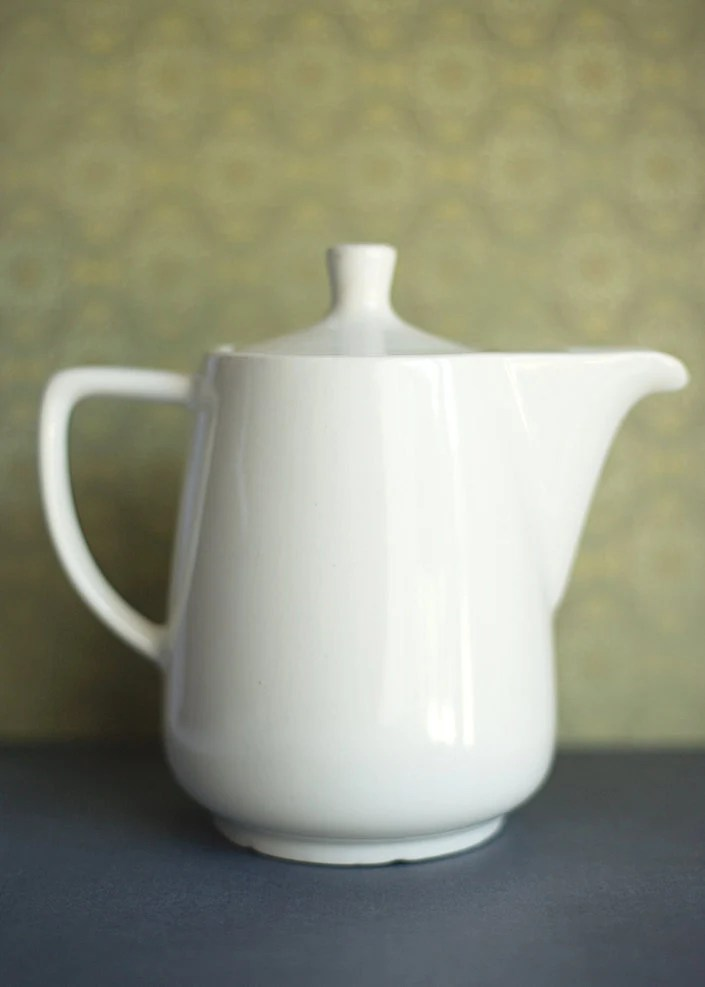Melitta Coffee Pot Tea White Ceramic Carafe Cottage Decor