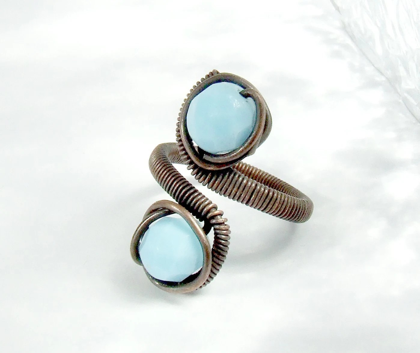 15% SALE Blue copper ring with turquoise glass beads handmade wire wrapped jewelry - VeraNasfaJewelry