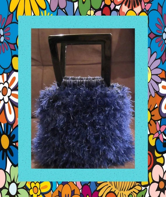 Funky Handmade Handbags - Medium - Colorful Blue - Cotton & Fun Fur Bag in Sapphire Blue With Acrylic 5x5 Handles And Pocket