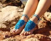 Crochet Turquoise Barefoot Sandals, Nude shoes, Foot jewelry,Wedding, Victorian Lace, Sexy, Lolita, Yoga, Anklet , Steampunk, Beach Pool - Lasunka