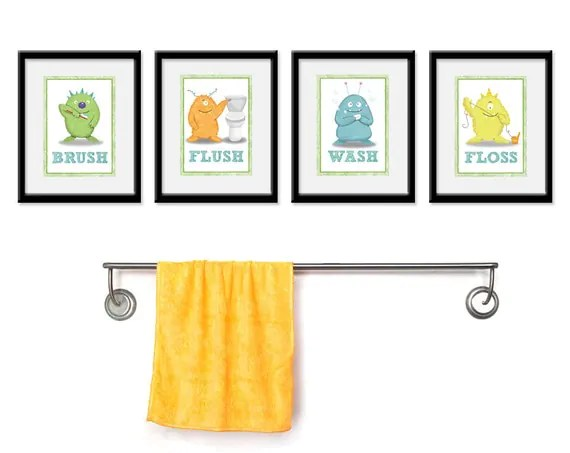 Kids Bathroom Art Children's Wall Decor Monsters For The