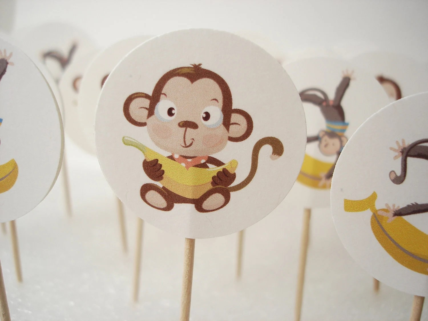20 Decorative Monkey Toothpicks Party Picks Cupcake Toppers