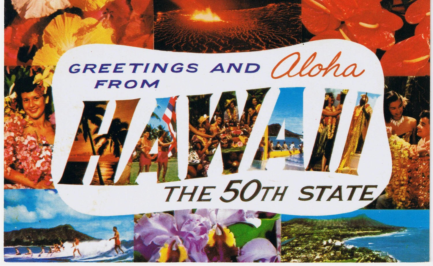 Greetings From Hawaii Vintage Postcard Vintage Images