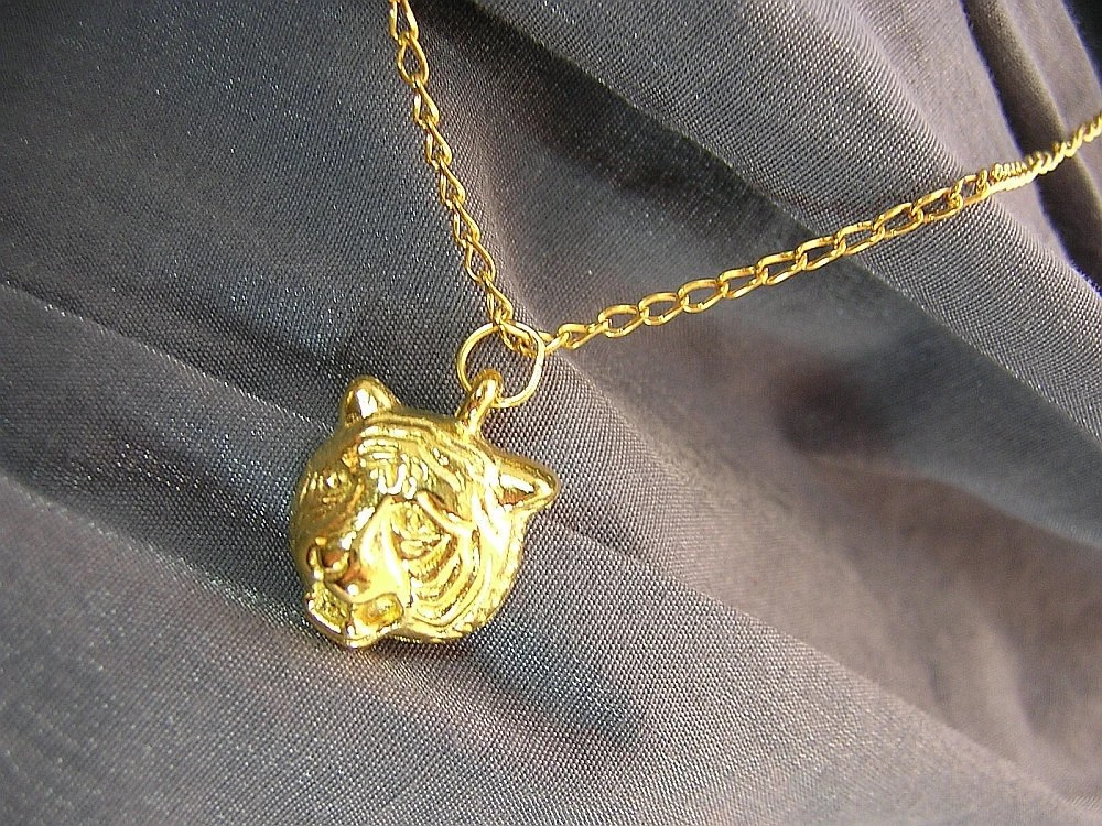 Golden Tiger Head on Gold Chain Simple Charm Necklace - Handmade by Rewondered D225N-00608 - $6.95