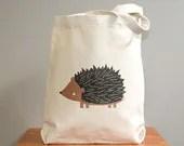 Canvas tote bag, hedgehog. Sturdy 100% 10oz. cotton canvas. - squarepaisleydesign