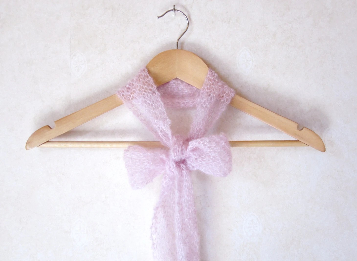 Women NeckTie Bow Tie Scarflette Lacy Handknitted Light Pink Mohair Wool Valentine Soldeshiver Wintersales - DoucesLaines