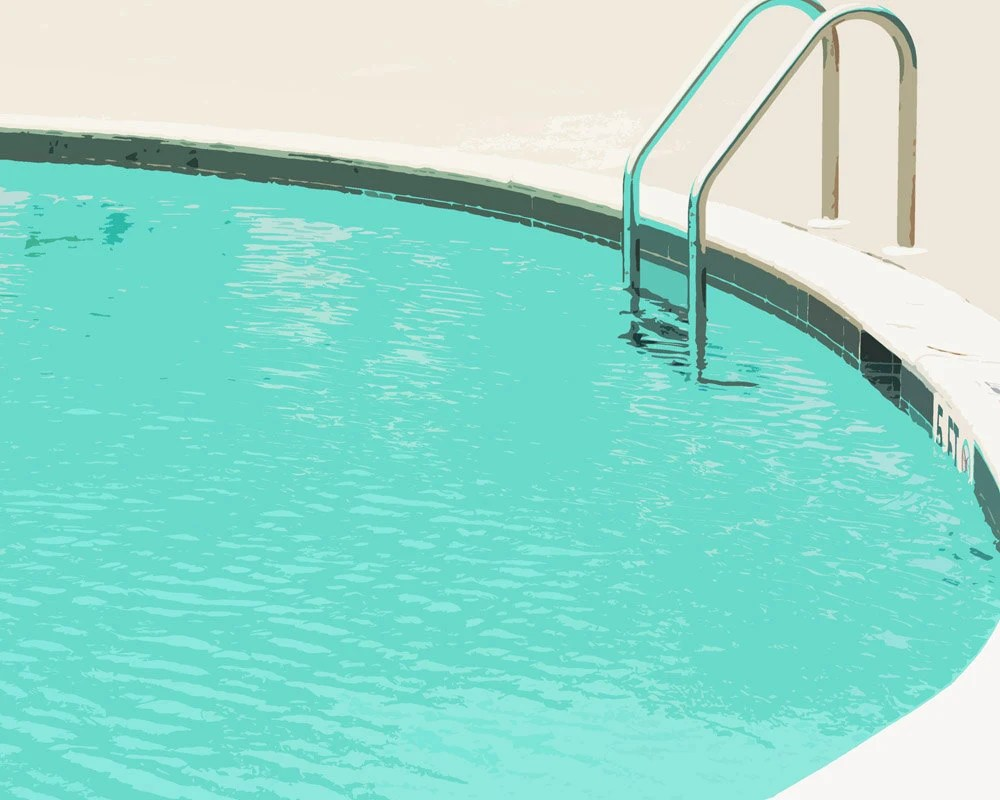 Swimming Pool Summer Water Blue  Ladder - 5 x 7 art print by Dawn Smith - DawnSmithDesigns