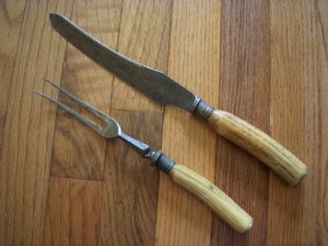 Vintage Carving Set Joseph Rodgers and Sons with bone handle
