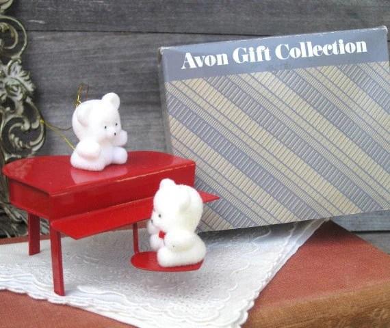 Vintage Avon Teddy Bear Ornament Collection Teddies On Piano