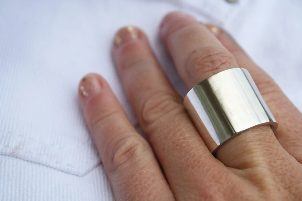 Extra Wide Ring Thick Heavy Sterling Silver Jewelry 20mm Wide