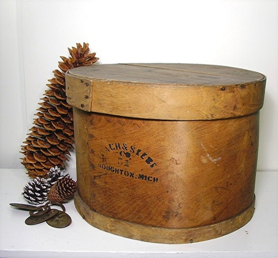 Antique Rustic Wooden Pantry Cheese Box Round By