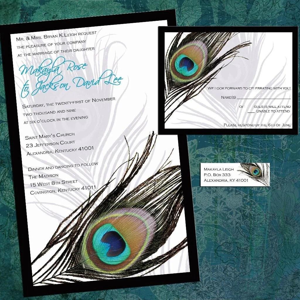 Peacock Feather Invitation Template