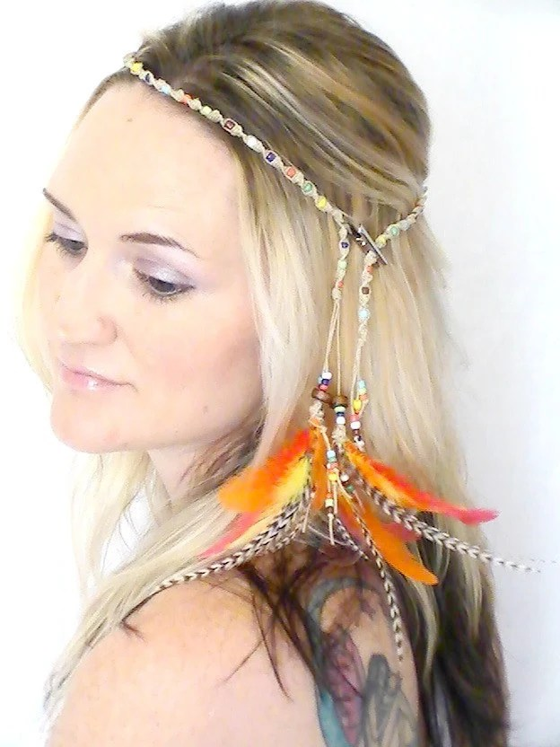 Hippie Headband  Feather Extensions Boho Braided Crown Orange