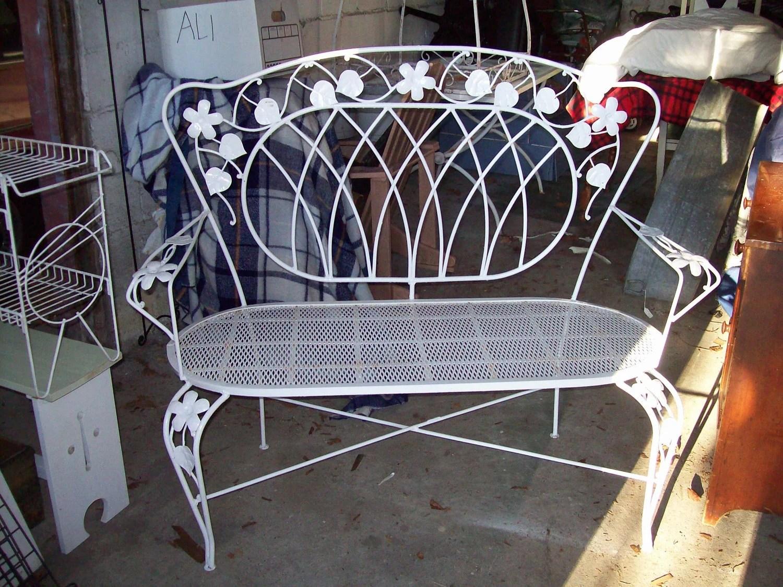 White Wrought Iron Vintage 1930 S Garden Bench Setee