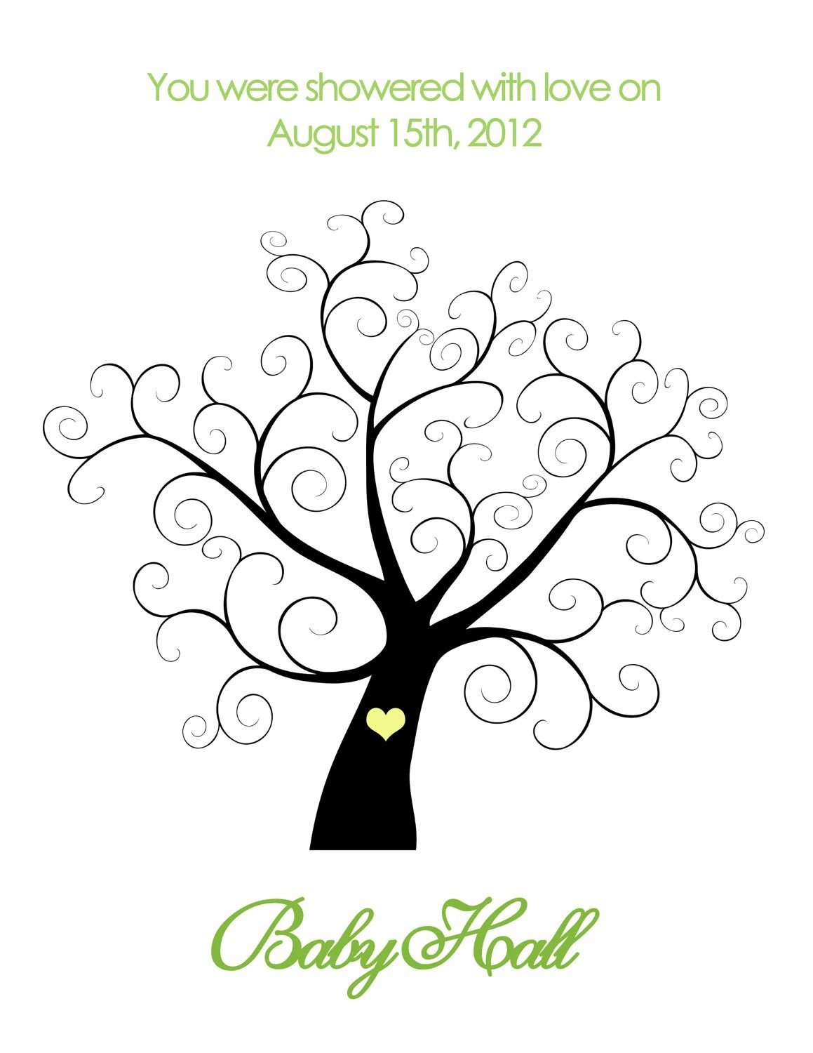 Printable Baby Shower Thumbprint Tree By Belladellacreations