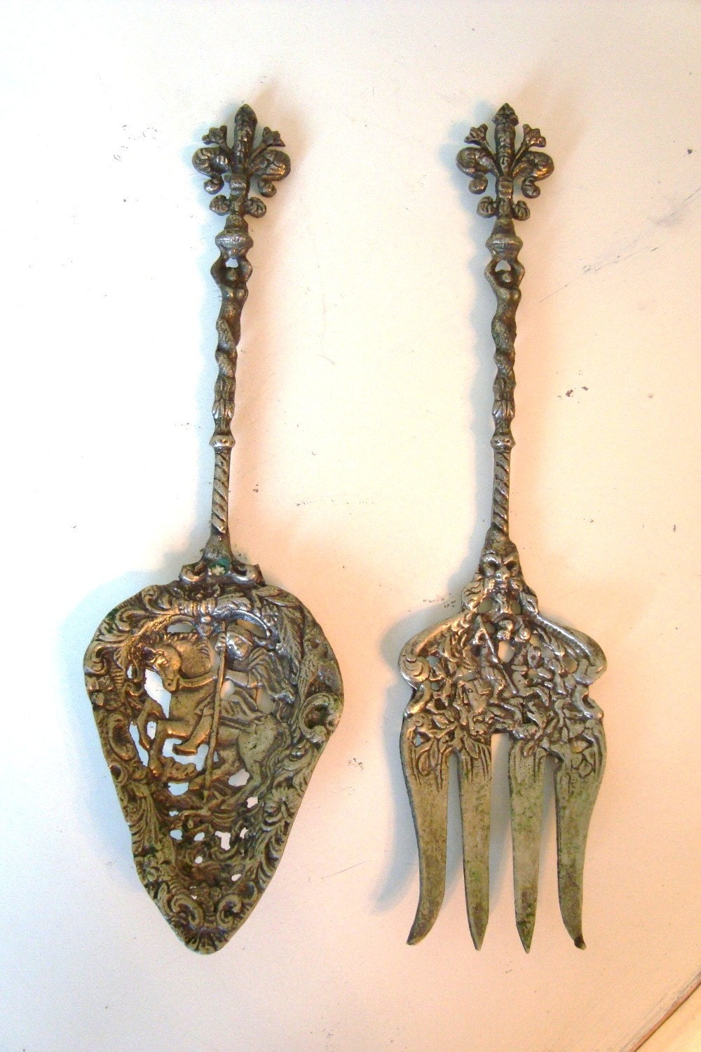 Antique Pr Italy Florentine Serving Fork Spoon By