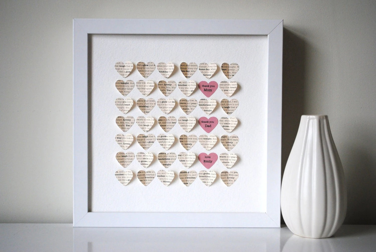 Parents' Thank You Gift Personalized 3D Hearts Made