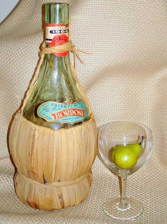 Vintage Chianti Wine Bottle With Straw Wrap Bordoni Wine