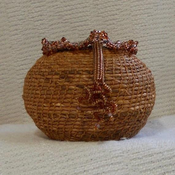 E157  Siberian Iris Leaf Coiled Basket