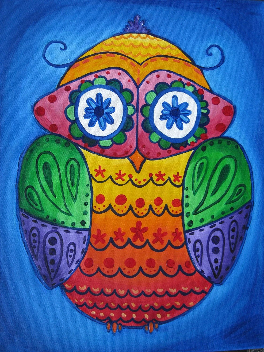 Items Similar To Bold Colorful Patterned Owl Painting For Girls Room College Dorm 14x18