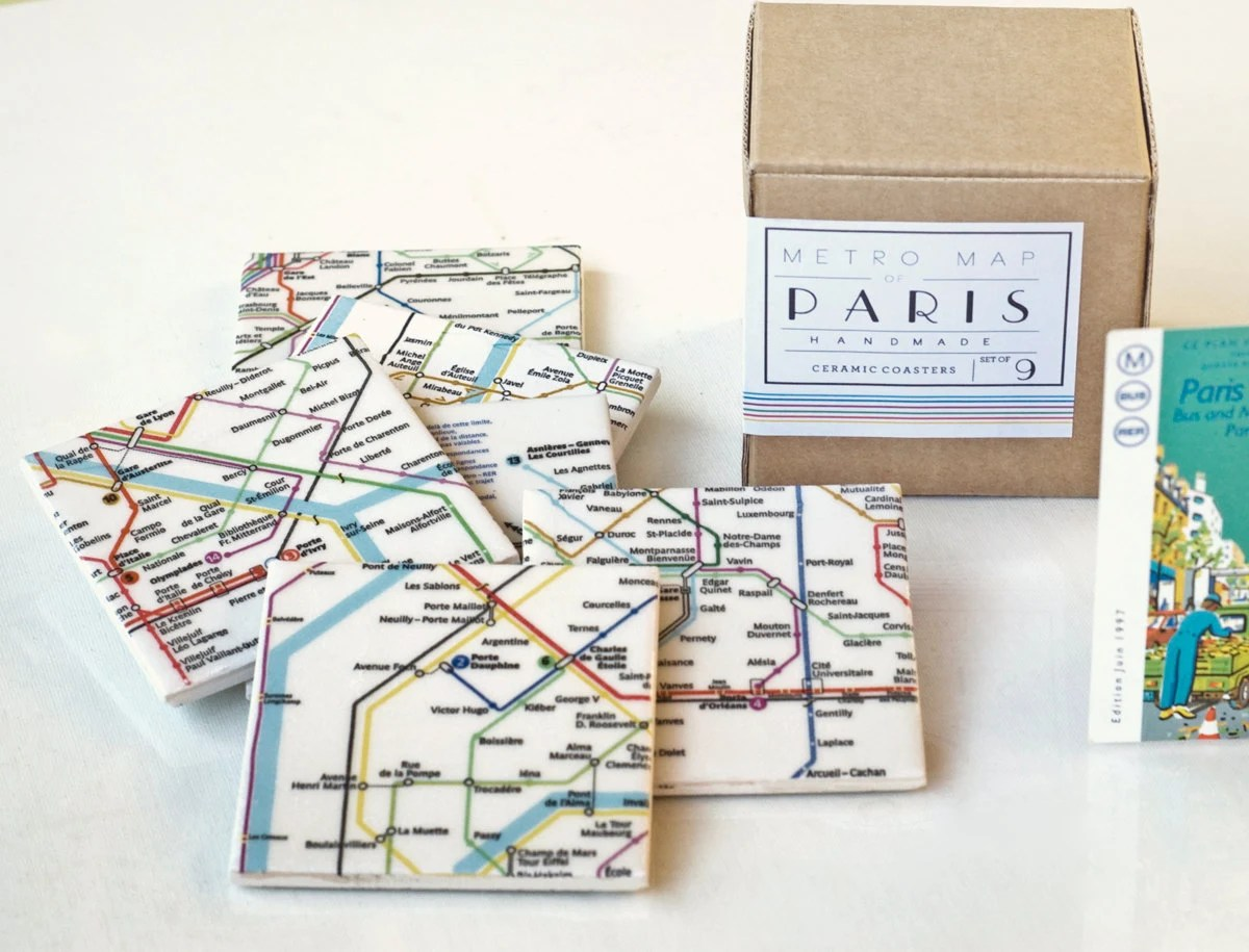 Paris Metro Map Coasters, Ceramic Tile Coasters, Special Gift Set set of 9 - Tilissimo
