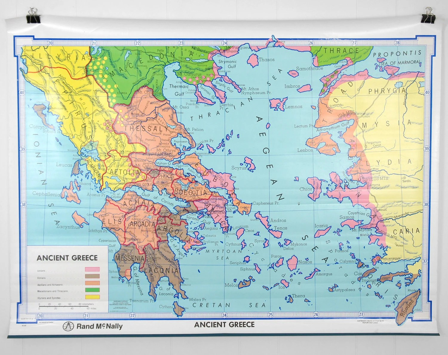 Vintage S Ancient Greece Classroom Wall Map