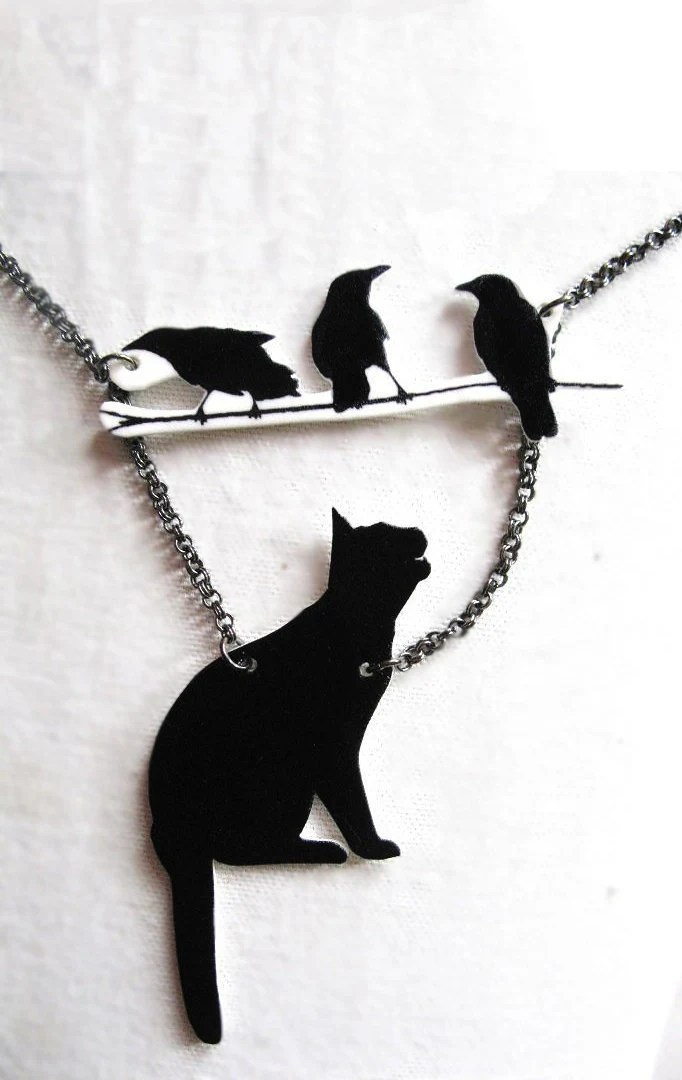 Halloween Black Cat and Birds Necklace Silhouette Pet Lovers - whatanovelidea