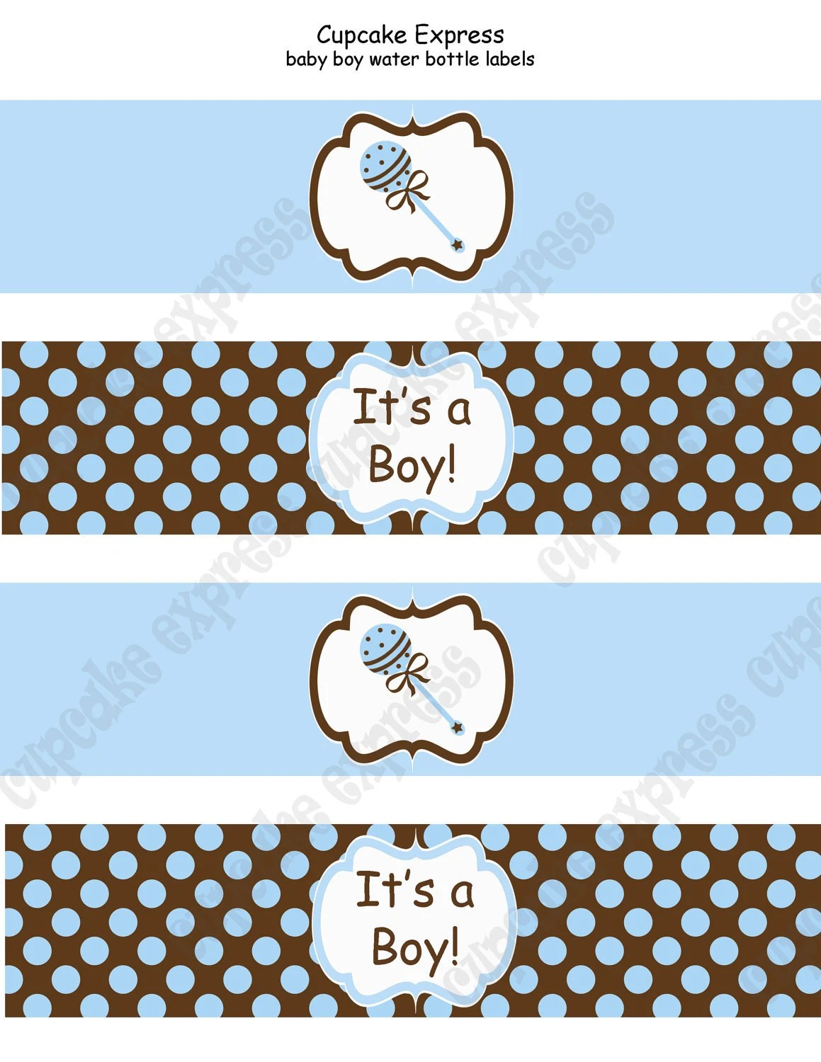 Diy Baby Boy Collection Printable Water Bottle By Cupcakeexpress