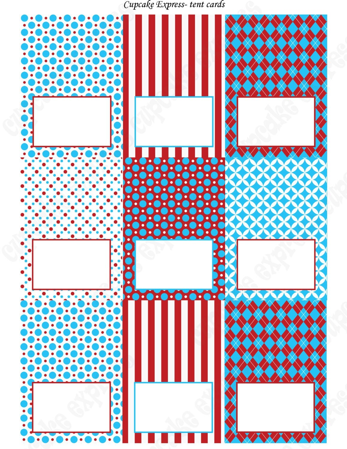 Dr Seuss Inspired Food Labels Tent Cards Printable Red Blue